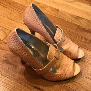 BCBGENERATION peach crocodile print leather heels